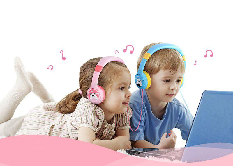 Růžová a zelená dětská sluchátka MPOW