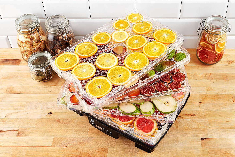 Sušička G21 Paradiso Big s ovocem připraveným k sušení