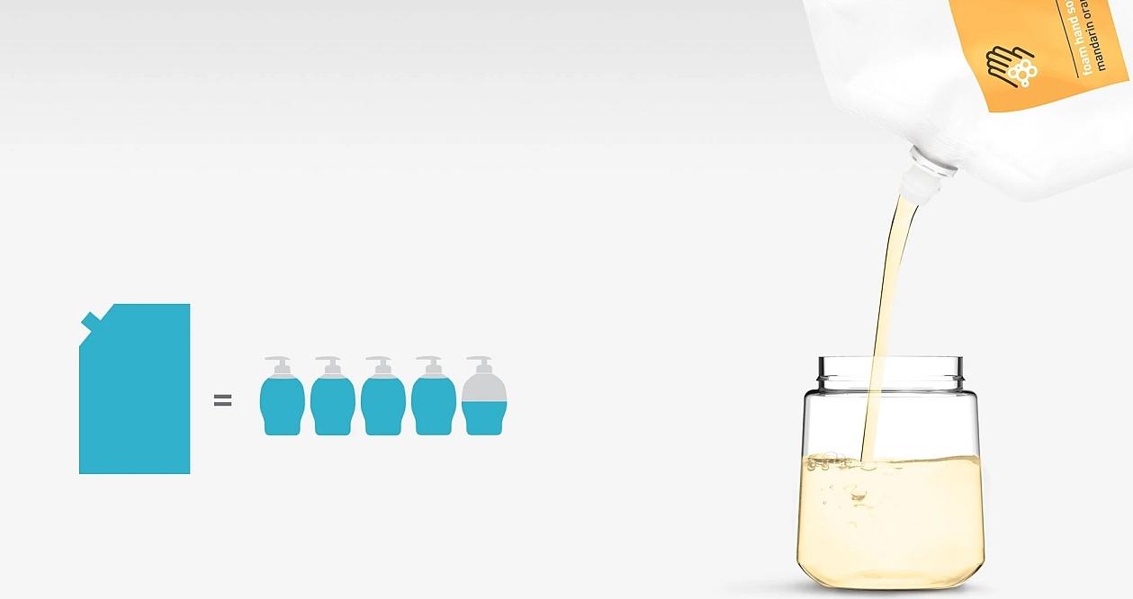 Nahradí 4,5 klasických jednorázových dávkovačů mýdla