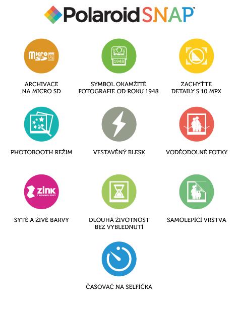 Polaroid SNAP vlastnosti