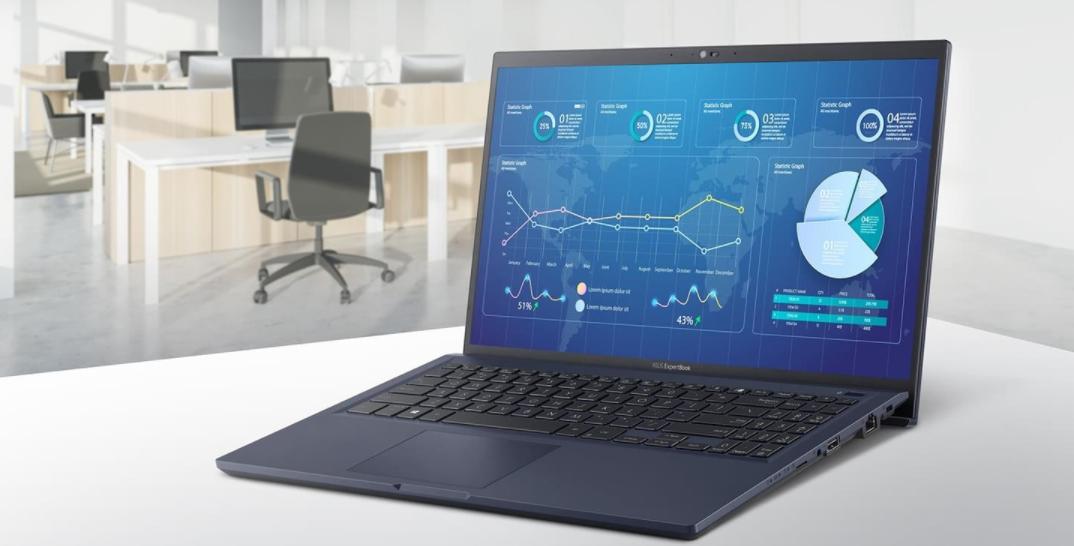 Notebook ASUS ExpertBook B1 B1500 je prispôsobený pre školské či kancelárske použitie
