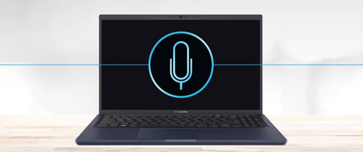 Asus ExpertBook B1 B1500 sa môže pochváliť integrovaným mikrofónom a reproduktorom s pokročilou technológiu ASUS AI pre potlačenie šumu