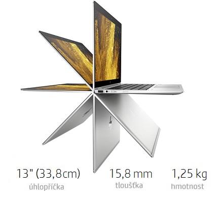 HP elitebook x360 1030 g3 na bielom pozadí so znázornením otočného displeja
