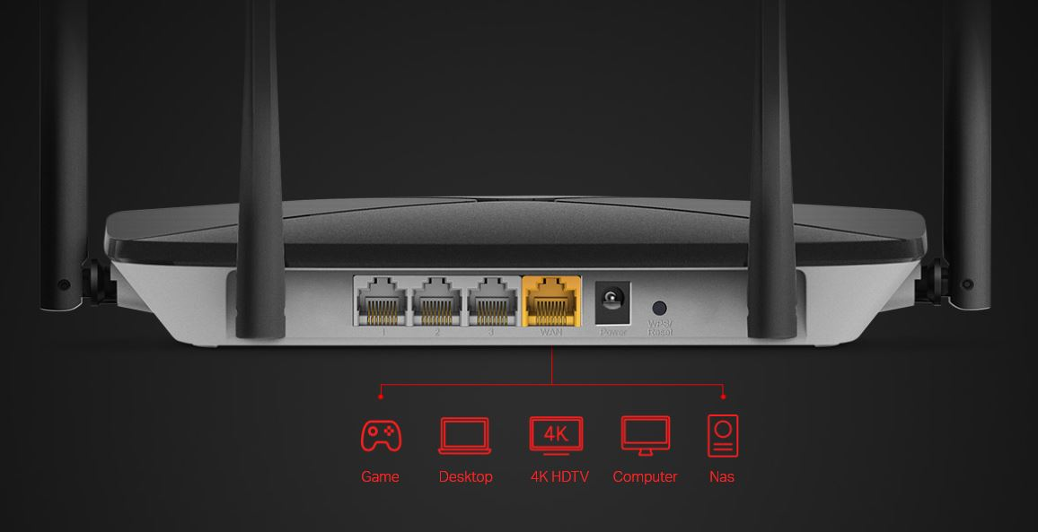 zadní pohledna porty routeru na černém pozadí