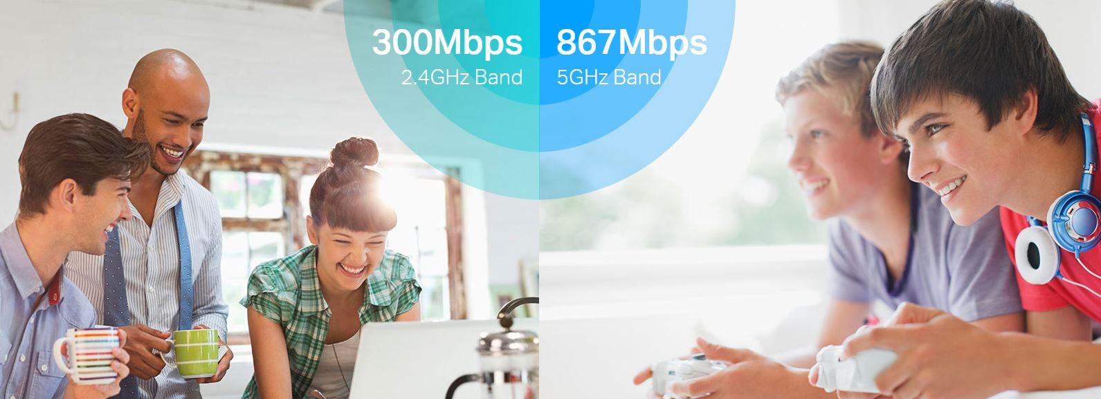 TP-Link Archer C6U s přenosovou rychlostí až 300 MB/s (2,4GHz)a 867 Mb/s (5GHz)