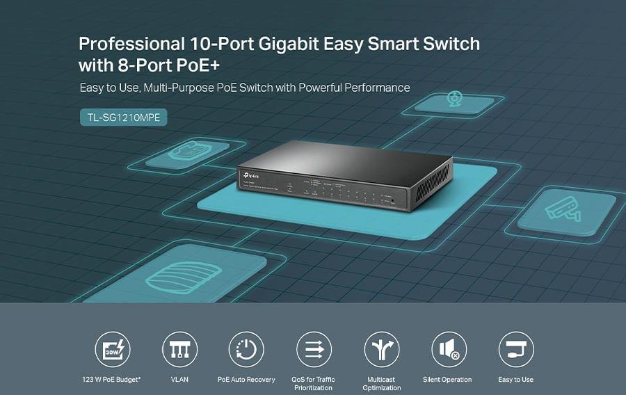 Výkonný PoE přepínač TP-LINK TL-SG1210MPE nabízí 8 GLAN/PoE portů, 1 klasický RJ-45 konektor pro LAN a 1 SFP/RJ-45 Combo port pro uplink