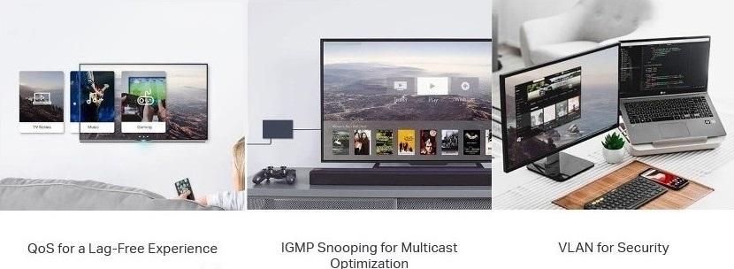 Switch TL-SG1210MPE nabízí rozličné funkce, jako je například QoS, VLAN i IGMP Snooping
