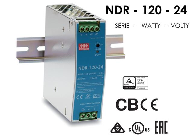 Zdroj Mean-well NDR-120-24 průmyslový 24V 5A na DIN lištu