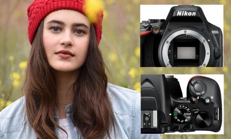 Digitálny fotoaparát Nikon D3500 Black snímka ženy s červenou čapicou