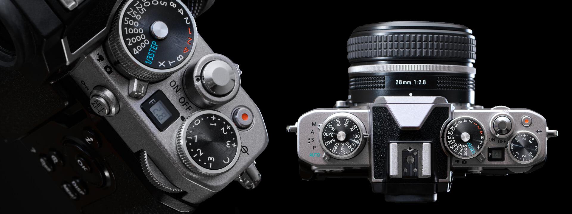 Hliníkové ovládací prvky fotoaparátu Nikon Z fc jsou rozloženy přesně tak, jako tomu bylo na přístroji Nikon FM2