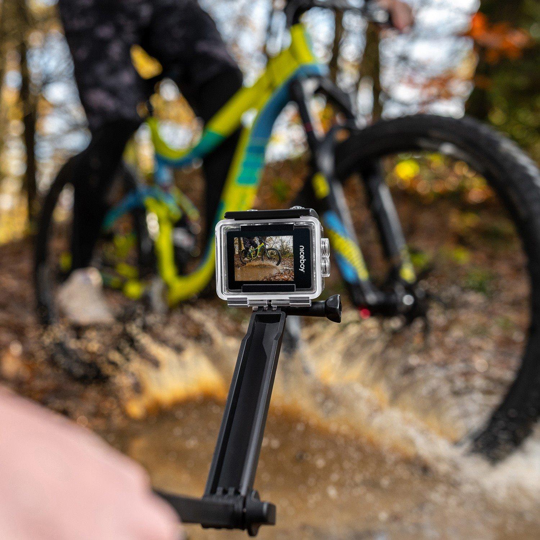 Natáčení cyklisty v lese s kamerou Niceboy VEGA X Play