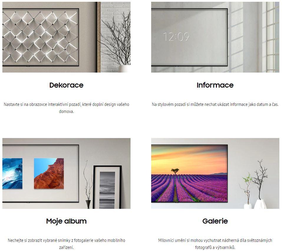 zobrazení dekorace, informací o čase, alba fotografií nebo galerie obrazů na obrazovce v režimu Ambient