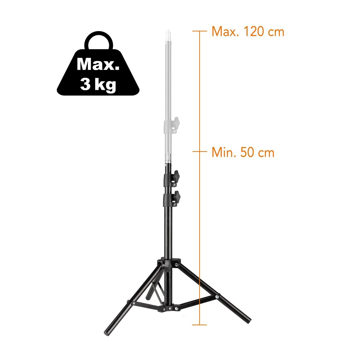 Dodávaný stativ lze vysunout až do výšky 120 cm a navíc se pyšní celkovou nosností až 3 kg.