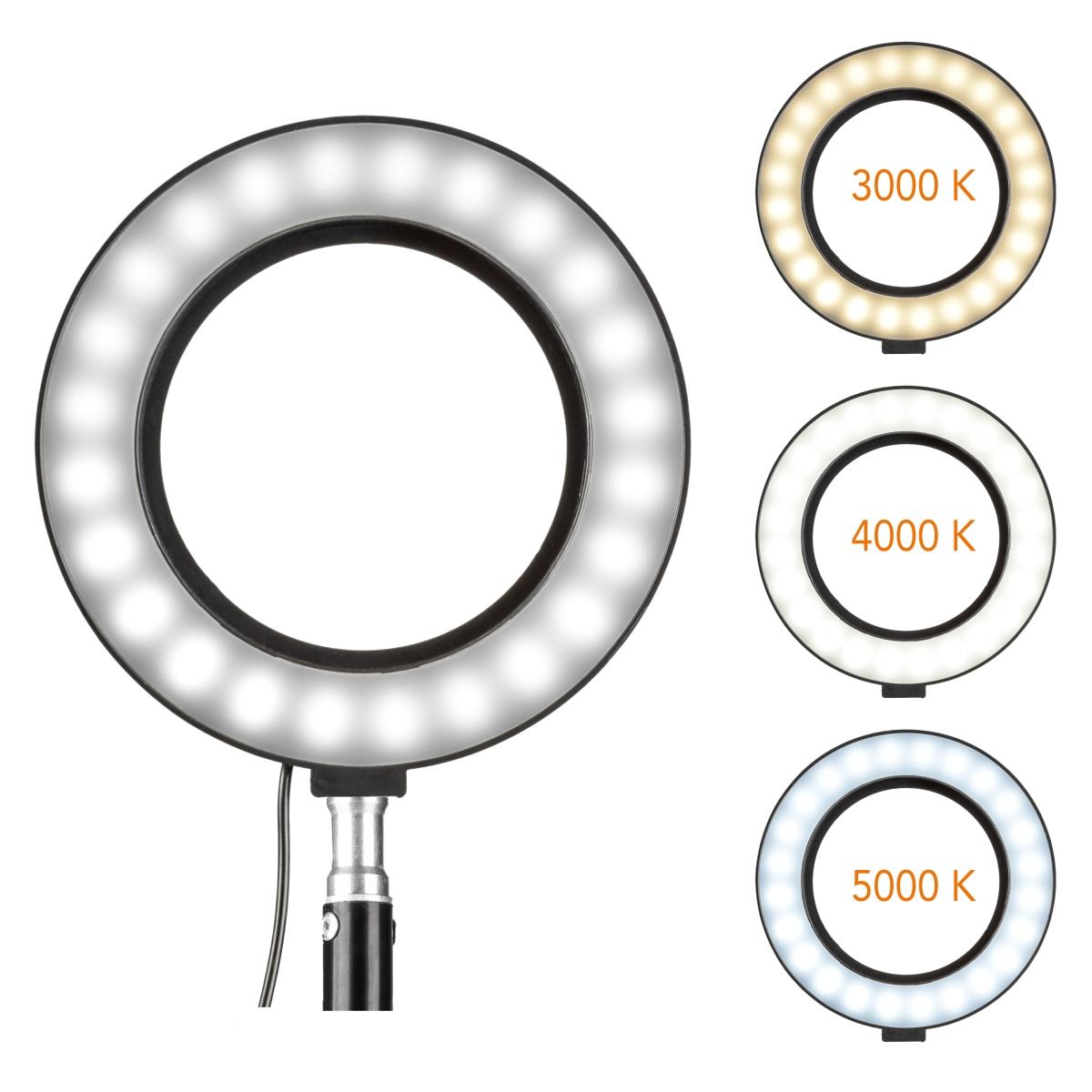 Barevná teplota kruhového osvětlení lze nastavit ve 3 stupních mezi 3 000 K (umělé světlo) a 5 000 K (denní světlo).