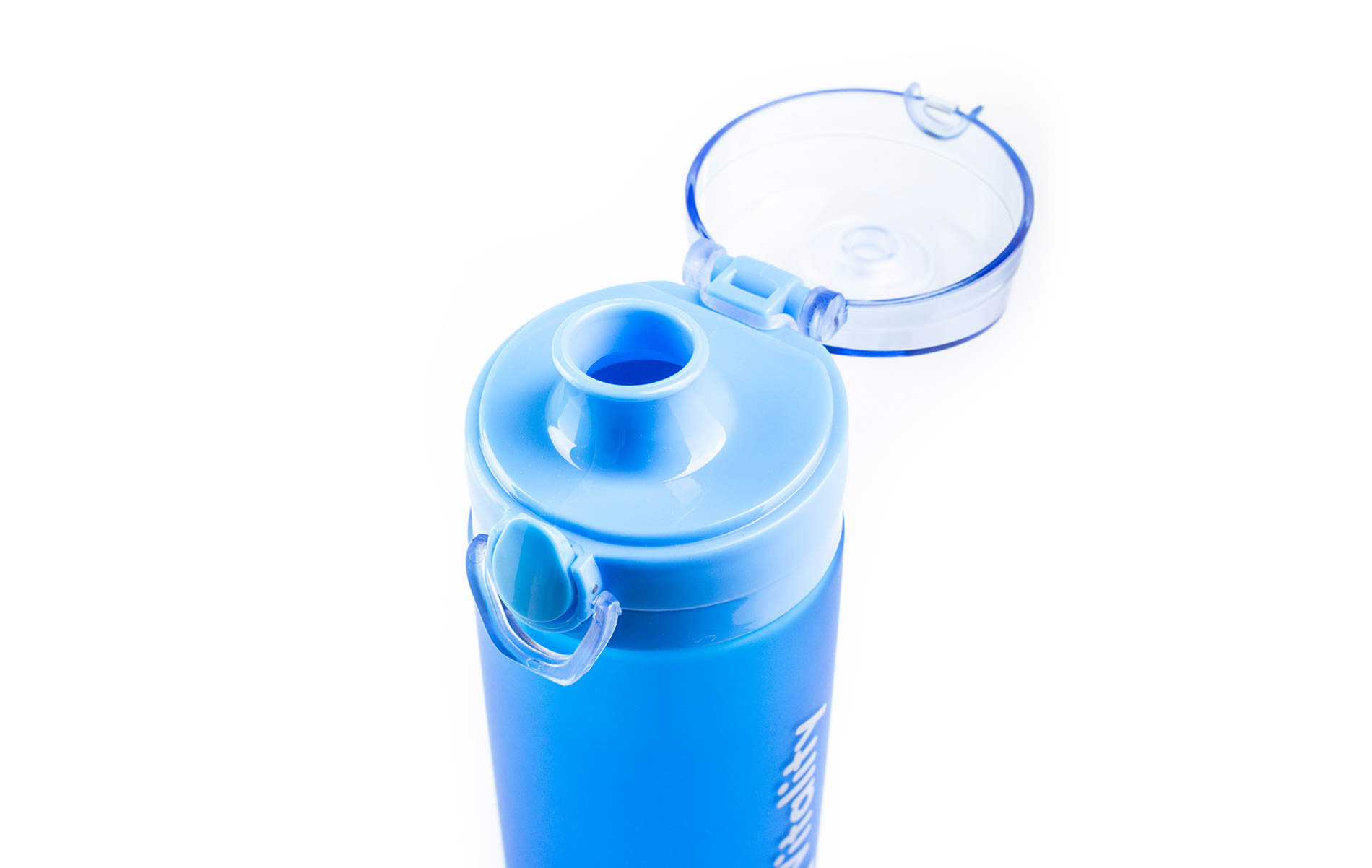 Modrá láhev G21 na smoothie/juice v mrazivém designu má i pojistku