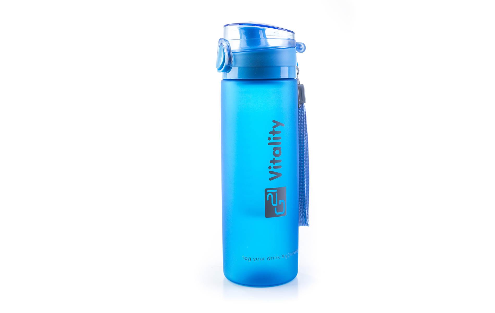 Modrá láhev G21 na smoothie/juice v mrazivém designu