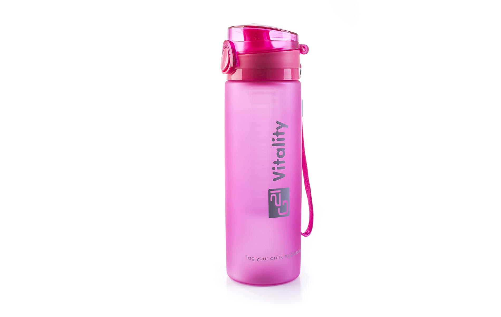 Růžová láhev G21 na smoothie/juice má objem 600 ml