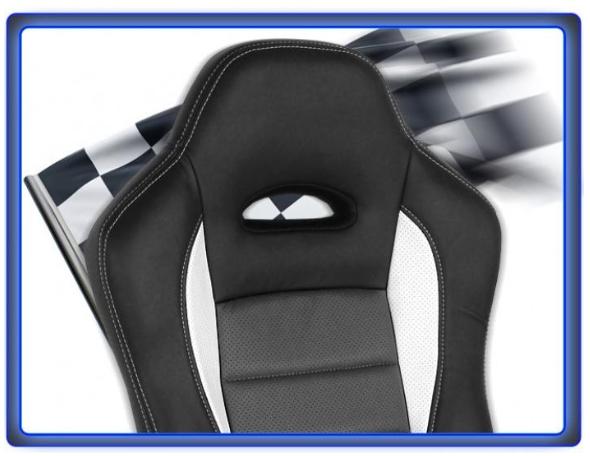 Kancelářské křeslo Hawaj Nürburg - racing design černo-šedo-bílá
