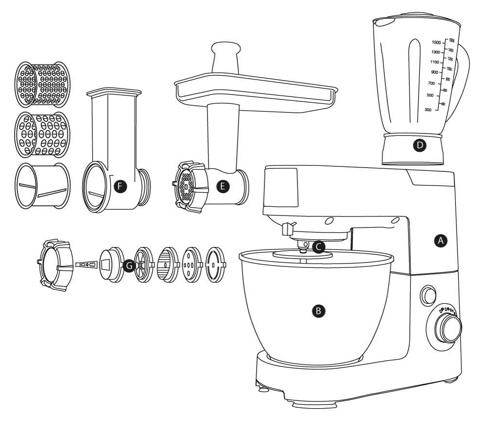 Složení kuchyňského robota G21 Promesso