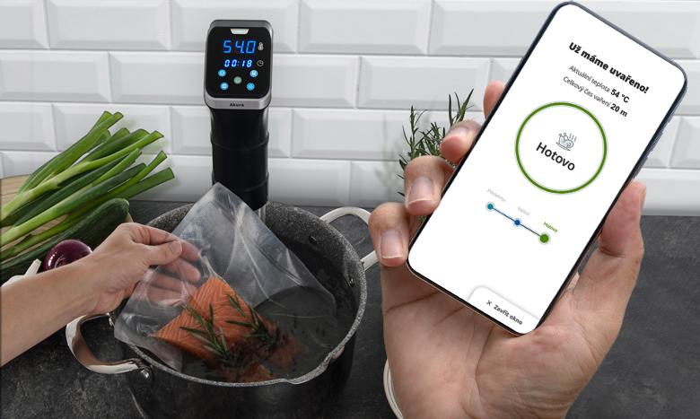 Aplikace G21 Smart Home s recepty pro G21 Akura vám na displeji mobilního telefonu oznámí, že je uvařeno.