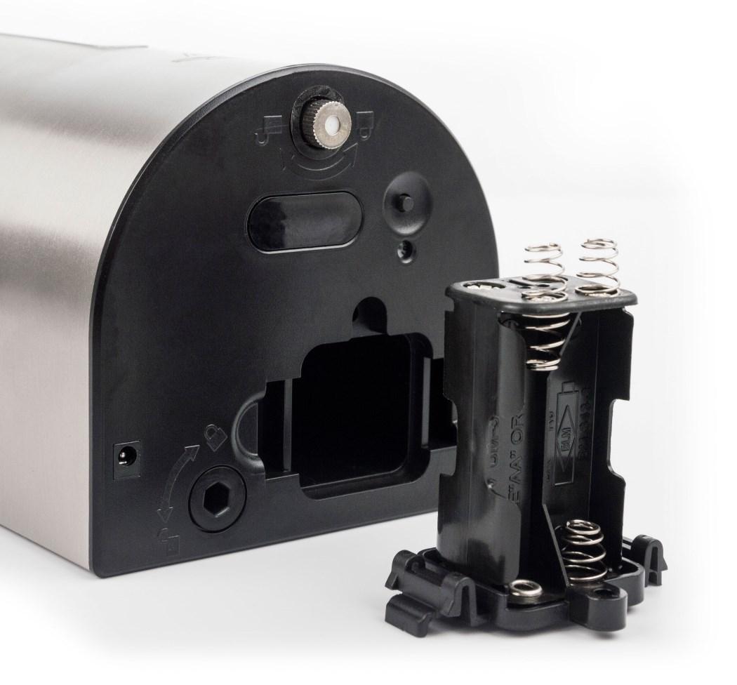 Automatický dávkovač dezinfekce G21 Rocket Stainless Steel je napájen 4 AA bateriemi