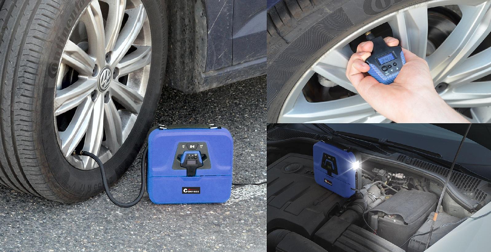Kompresor do auta pro nahuštění pneumatiky, vyjímatelný digitální pneuměříč, vestavěná svítilna osvítí pracovní prostor