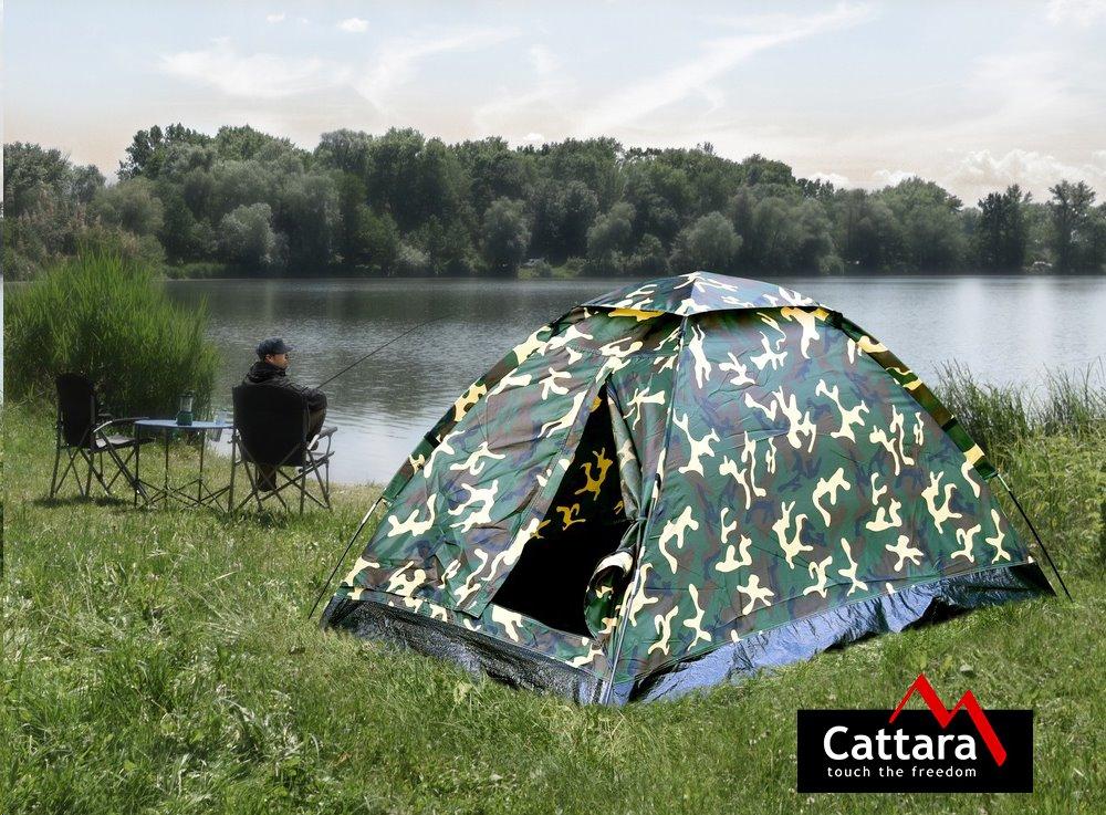 Rybář se stanem Cattara ARMY u vody