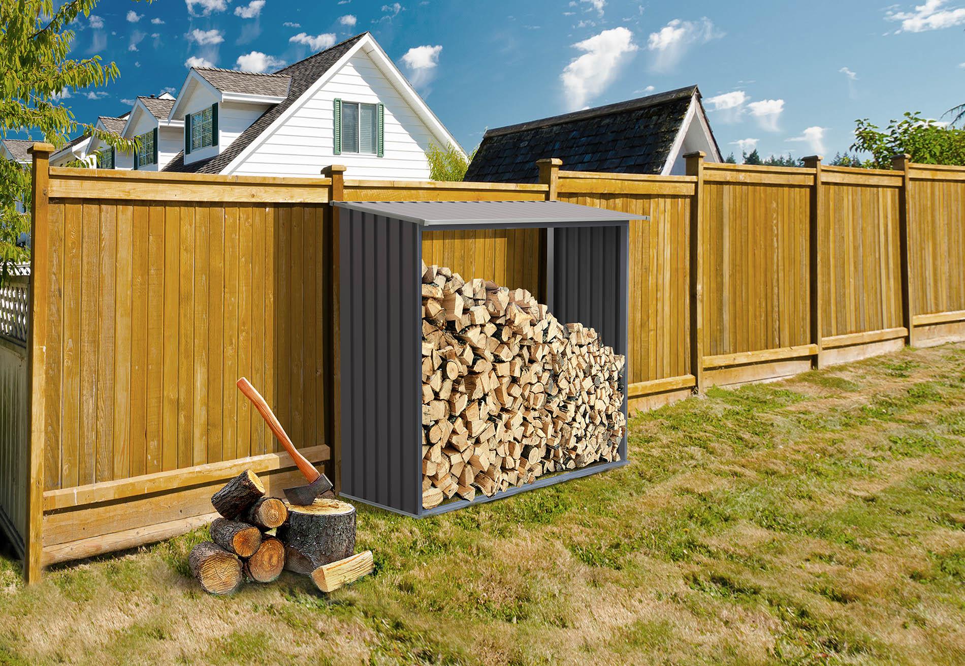 Šedý přístřešek na dřevo G21 WOH 136 o objemu 1,7 m