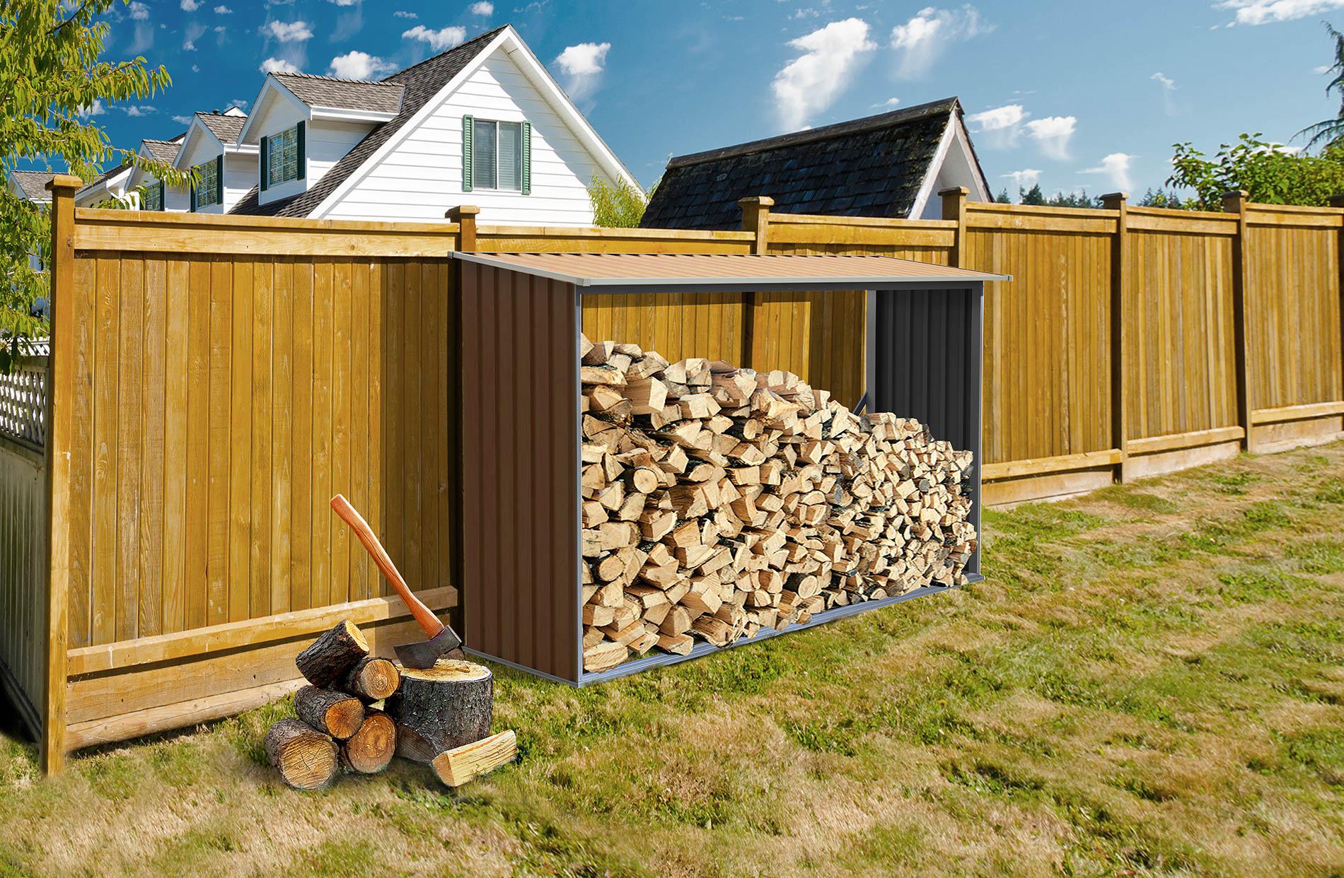 Hnědý přístřešek na dřevo G21 WOH 181 o objemu 2 m