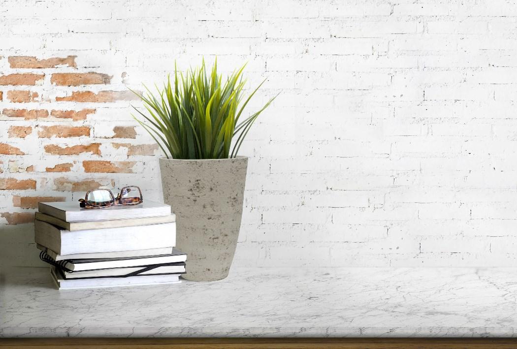 Kvetináč G21 Baltic Plump s okrasnou kvetinou postavený na stole pred stenou s tehlovou tapetou vedľa stohu kníh s odloženými okuliarmi.