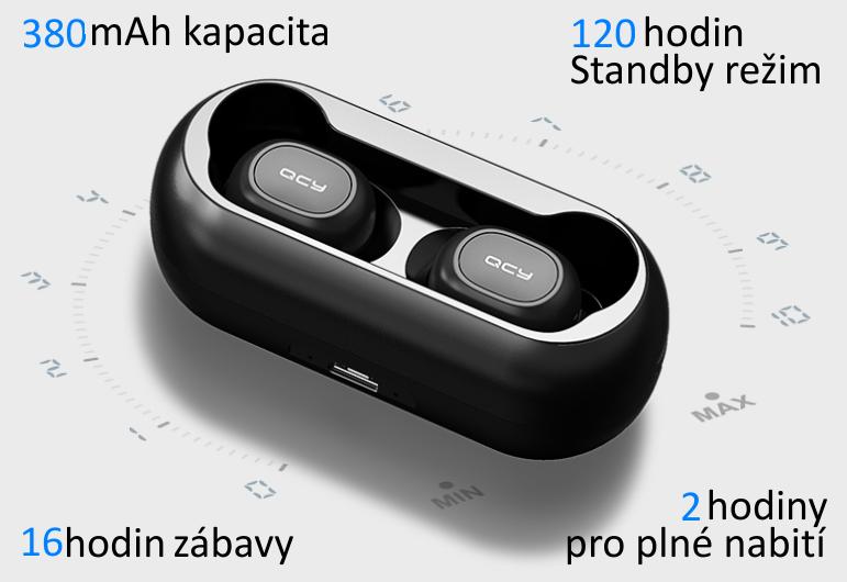 Sluchátka QCY - T1C zcela bezdrátová špuntová sluchátka s dobíjecím boxem, černá