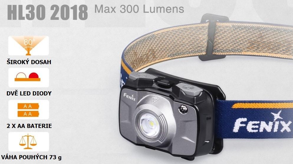 LED čelovka Fenix HL30 XP-G3 2 x AA baterie, šedá