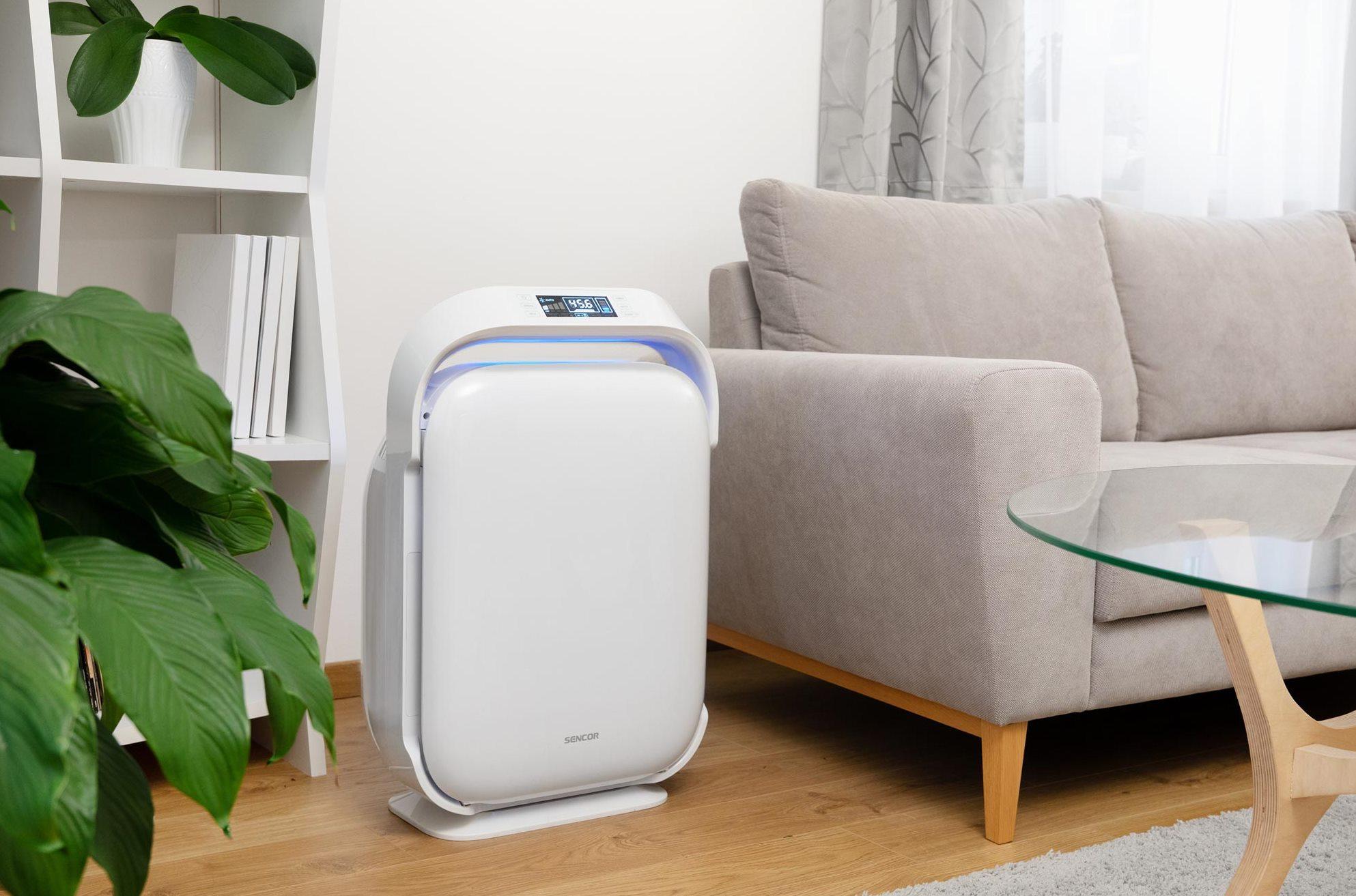 Čistička Sencor SHA 9400WH má senzor kvality vzduchu, který detekuje míru znečištění vzduchu a následně doporučuje optimální výkon pro jeho vyčištění