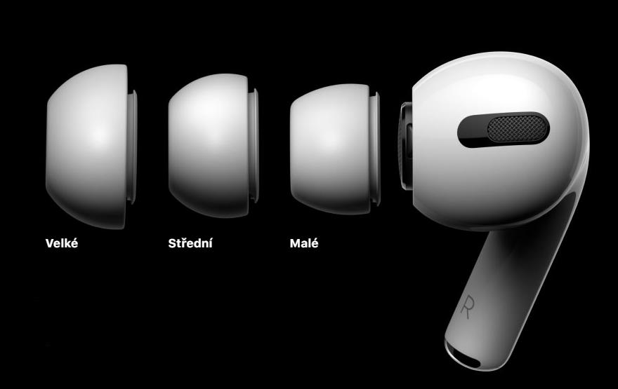 3 velikosti vyměnitelných špuntů pro AirPods Pro